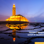 Hassan-II-Mosque-during-the-sunset-in-Casablanca,-Morocco