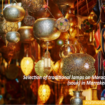 Selection-of-traditional-lamps-on-Moroccan-market-(souk)-in-Marrakech,-Morocco
